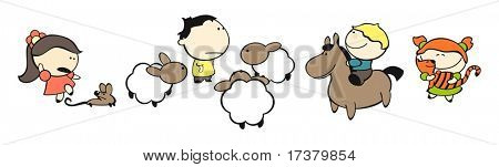 set of images of funny kids on a white background #16, animals theme