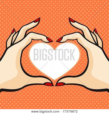 Comics style Valentine's day card with two hands and heart