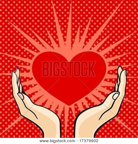 Comics style Valentine's day card with the female and male hands, holding a heart