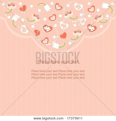 Romantic pink St. Valentine's Day card with flowers, stars and hearts