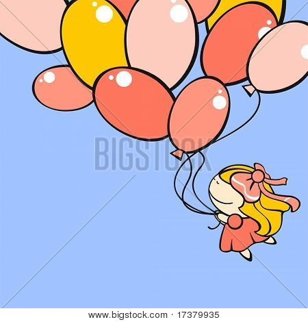 Funny card with a cute little girl flying with the balloons