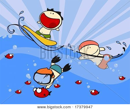 Set of images of funny kids #23, swimming theme