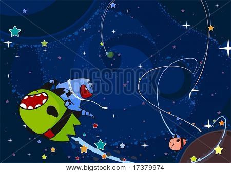 Two cute aliens race through the open space