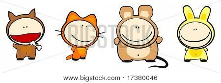 Set of images of funny kids on a white background #25, costume theme