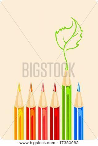 Color pencils and green leaf sketch