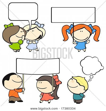 Funny kids #8 - banners and speech bubbles (raster version)