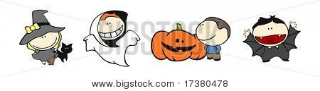 Set of images of funny kids on a white background #18, halloween theme