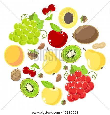 Fruits and nuts set (raster version)
