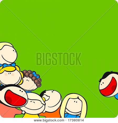 Background with cute cartoon kids (raster version)