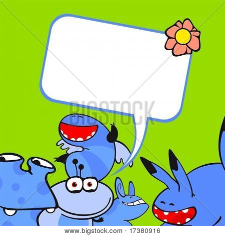 Cute card with a group of little blue monster friends