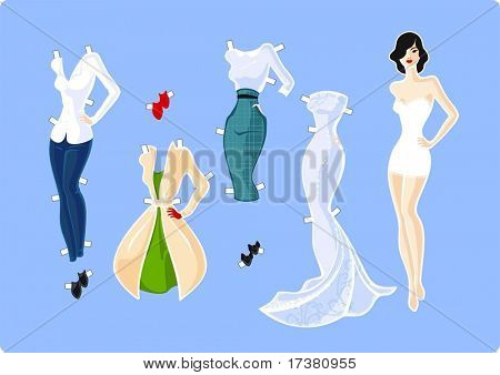 Paper doll and her wardrobe