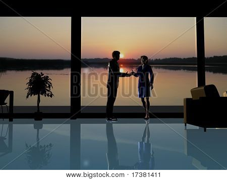 Silhouettes on a background of a window