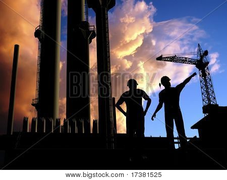 Construction of a building on a background of the sky