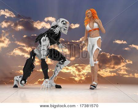 Die sexuelle Frau mit Cyborg auf einem Spiegel-Hintergrund