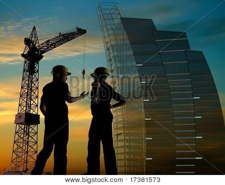 Bau eines Gebäudes auf Grund des Himmels