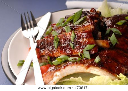 Slab Of Bbq Ribs With Scallions