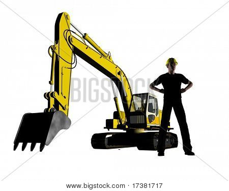 Dredge and worker on a white background