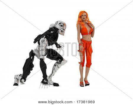 La mujer sexual con cyborg