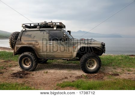 Jeep Upgraded For Off-Road On Shore Pacific Ocean