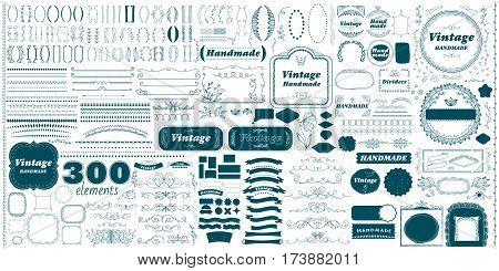 Vintage hand made divider lines set isolated vector illustration. Big retro collection of vintage page divider, label, badge, vintage ribbon, frame. Vintage page decoration, decorative ornament design elements. Vintage elements.