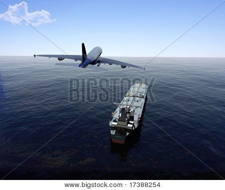 The cargo ship and plane on a background of the sea