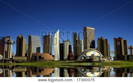 Sky-scrapers of modern city ashore