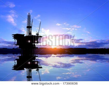 Produktion von Erdöl im Meer