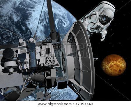 O astronauta e a nave no espaço sideral