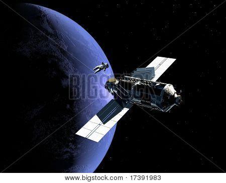El astronauta y la nave en el espacio ultraterrestre