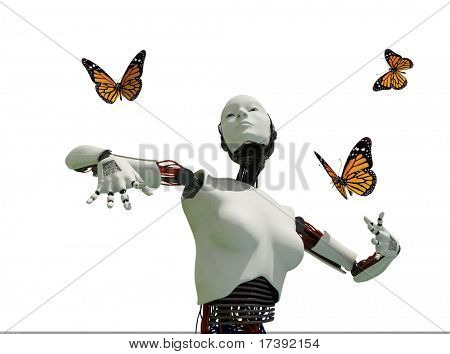 The figure of the robot and butterflies on a white background
