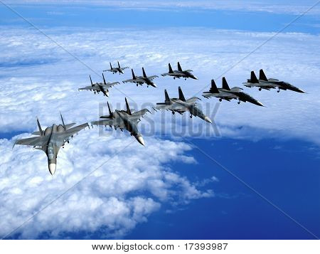 With military planes against the sky
