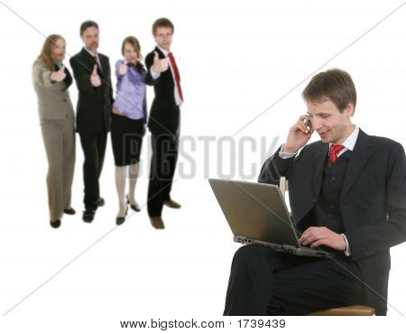 Businessman And His Team
