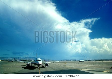 Airplane and Thunderstorm