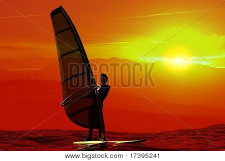 Silhouette of surfer at sunset