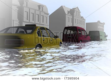 Public transport moves along the flooded street