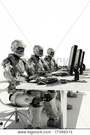 A robots with a computer on a white background