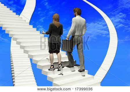 People walk up the steps on the skyline.