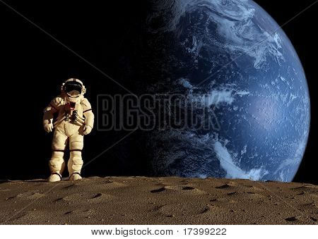Der Astronaut auf dem Hintergrund eines Planeten