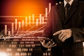 Business Man On Digital Stock Market Financial Indicator Background. Digital Business And Stock Mark poster