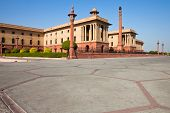 stock photo of rashtrapati  - Low angle view of part of the North Block of the President House in New Delhi India - JPG