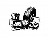 Car Accessories - Retro Clip Art