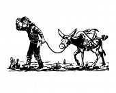 stock photo of jackass  - Prospector With Donkey  - JPG
