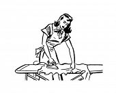 Woman Ironing - Retro Clip Art