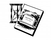 stock photo of funeral home  - Tombstone With Hourglass  - JPG