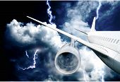airplane crash in a storm with lightning concept. accident airplane in the sky. emergency landing. f poster