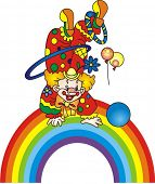 stock photo of circus clown  - Clown on a rainbow - JPG