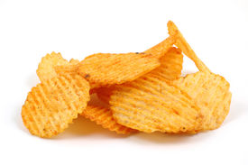 picture of potato chips  - Pile of spicy potato chips in isolated white background - JPG