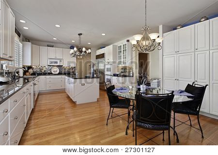 Modern kitchen with island and eating area