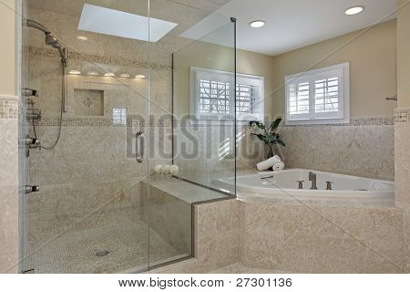 Modern master bath with large glass shower