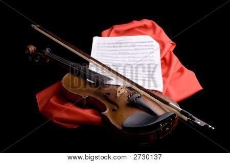 Violin On Scarlet Silk